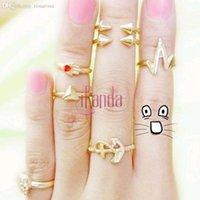 angels skulls - New Skull Anchors Angel Hand Lightning Triangle Rings Joint Jewelry Sets Wedding Accessories CeB