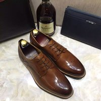 Wholesale Mens black shoes luxury genuine leather flats business formal shoes wedding dress brogues oxfords derby shoes zapatos hombre