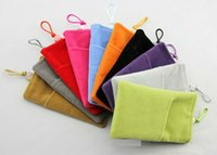 Wholesale Phone Velvet Pouch Cloth Sleeve Lint Bag Pouch Soft Double Pouch Bag Soft Cloth Bag Pouch Sleeve Case For Cell phone accessories