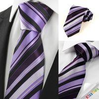 Wholesale New Striped Purple Black Luxury Men Tie Necktie Wedding Party Holiday Gift