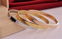 Wholesale Big Brand New style fashion Design Oval Rose Gold Bangle set with flash CZ for men and women