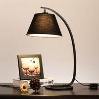 Wholesale Hot sell Sweet bedroom lamp Black and white cloth round lamps and lanterns Contemporary contracted bedside northern rural village lighting