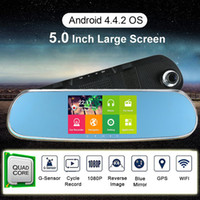 automotive video recorder - 1080P quot LCD Android Car DVR GPS Navigation Wifi Parking Rearview Mirror Dash cam video recorder G Dual Core cameras