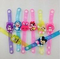 Wholesale CCX Led flash light cartoon bracelet pvc watch wrist band LED Mitts Gloves party decoration mix hot toys soft rubber