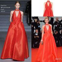 banks picture - Hot Sales Red Elizabeth Banks A Line Sleeveless Red Carpet Celebrity Evening Dresses Floor Length Pick ups Prom Gowns