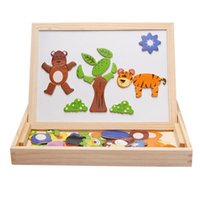 Wholesale Fantastic Learning Education Wooden Animal Magnetic Puzzle Multifunction Writing Drawing Toys Board for Kids Baby Children