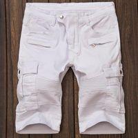 Cheap Basketball Jeans shorts for men Runway Biker Folds Ripped American denim jeans short Famous Brand Slim Designer mens cargo shorts