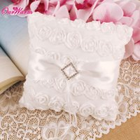 Wholesale Satin Lace Wedding Ring Pillow for Wedding Decoration Supplies White Decorative Ring Pillow Flower Style Wedding Accessories