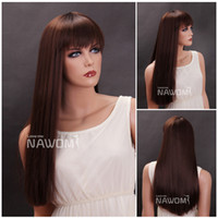 Wholesale W3362 Brand New Fashion Light Brown Long Straight Women Kanekalon Synthetic Hair Wig inch Natural Hairpiece