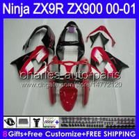 al por mayor zx9r carenados rojas blancas-8gifts blanco rojo de la carrocería para KAWASAKI NINJA ZX9R 2000 negro 2001 ZX 900 ZX 9R Cuerpo 39HM1 00-01 9 R ZX900 ZX-9R 00 01 900cc carenado rojo caliente