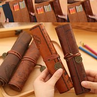 antique pencil box - Pencil Bags Treasure Map Pen Bag Antique Nautical Pencil Case Big Capacity Pencil Bag Soft Leather Pen Boxes WX P03