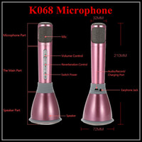 Wholesale Unique Design K068 Karaoke Player Wireless Bluetooth Music Condenser Microphone With Mic Speaker KTV Singing Record mAh Battery DHL Free