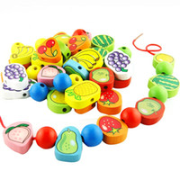 Wholesale A29 Wooden Toys Stringing Game Child Toy Heart Shaped Beads Mixed Animals Fruit Gift VB827 T10