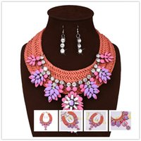 big chunky earrings - Best Sellers Bohemian Orangle Woolen Chunky Necklace Earrings Vintage Pink Crystal Jewelry Set For Women Big Brand Statement Necklaces