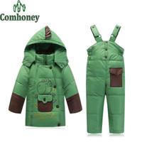 baby ski pants - Baby Boy Winter Jacket Overall Pant Set Dinosaur Cartoon Girls Ski Suit Infant Girls Winter Coat Toddler Boy Snowsuit Kids Parka