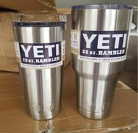 Wholesale Free DHL Yeti Cups Cooler Stainless Steel YETI Rambler Tumbler Cup Car Vehicle Beer Mugs Vacuum Insulated Refly oz oz oz