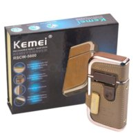 Wholesale New Retail Package Kemei Electric Rechargeable Men Shaver Razor Vintage Leather Wrapped Electric Shaving Machine Noble Models