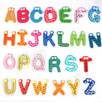 Wholesale Hot Sale New Kids Toys set Wooden Cartoon Alphabet ABC XYZ Magnets Child Educational Wooden Toy Gift