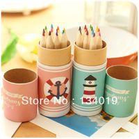 Wholesale Stationery fresh little cute pastel small round drum mini color pencil colors