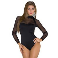 Wholesale 2016 sexy turtleneck transparent gauze hollow out long sleeves tight waist jumpsuits Europe and the United States foreign trade li