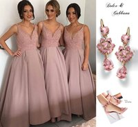 ribbon roses - Rose Pink Ankle Length Bridesmaid Dresses V Neck Spaghetti Sequins Beaded Satin Short Party Dresses Prom Dresses Evening Gowns