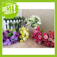 Wholesale 1Bouquet Heads Vintage Decor Rose Artificial Flower Runners Floral Latex Real Touch Rose Wedding Bouquet Home Party Design Flowers