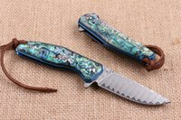 ball bearing factory - Factory Direct Damascus Blade Steel Flipper Folding knife EDC Pocket Folding Blade knife Gift knife Blue Titanium Handle Ball Bearing Sys