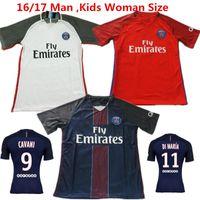beckham home - 2016 PSG Soccer Jersey Beckham Ibrahimovic Maillot de Foot Home New Pink Font Di Maria Lucas Cavani T silva David luiz Football Shirts