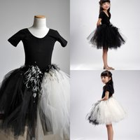 ballet shirts - Girls Feather Dress White and Black Tulle Flower Girl Dresses Top Cotton T Shirt Short Sleeves Birthday Dress Ballet Ball Gowns MC0218
