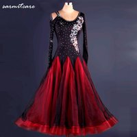Wholesale D114 On Sale Tailored Long Sleeve Big Hem Black Rhinestones Ballroom Dance Competition Dresses Standard Dance Dresses Ballroom Dress