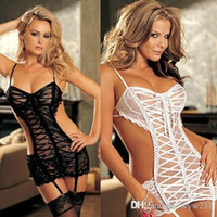 Wholesale Women s Lingerie Nightwear Costumes Plus Size Striped Lace Net Ladies Dress New Sexy Sleepwear