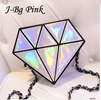 bg color - J Bg Pink fashion hologram bag diamond shape women messenger bag laser holographic crossbody chain bag color