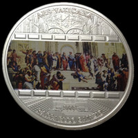 ars arts - 10 pcslot Cook Island master pieces of art Vantican Ars silver plated colored Elizabeth souvenir Coin OD about mm