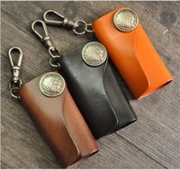 antique key hooks - Hot Sale New Special key chain Vintage retro handmade genuine cowhide leather Indians keyring case holder hook Fashion accessories