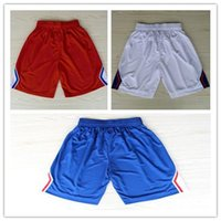 Wholesale Top Auality LA Chris Paul Blake Griffin Paul Pierce Basketball Sports Shorts In White Yellow Blue Hot Sale