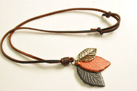 artistic pendants - Hot Sale New Special Vintage retro design Handmade leather belt leaves necklace pendant Creative artistic accessory Gifts