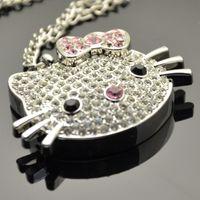 Wholesale Sweater chain disk g USB Hello Kitty Crystal g Kt cartoon cat girls gifts U disk U disk g