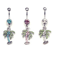 barbell tree - 5PCS mix color Rhinestone Coconut Tree L Surgical Steel Navel Palm Dangle Belly Ring Bar Barbell Body Piercing Piercing jewelry set