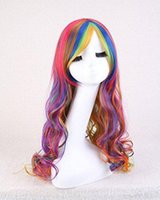 Wholesale WigShow New Arrival Long Multi Color Rainbow Rock Spring Bouquet Wavy Fashion Cosplay Party Wig With Free Wig Cap