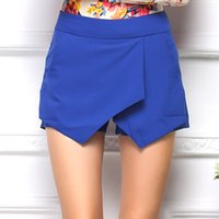 Wholesale 2016 New Hot Candy Colors Mini Shorts For Women Irregular Culottes Ladies Shorts Fashion Tiered Design Women Summer Shorts
