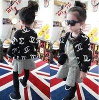 Wholesale Autumn Baby Girls Coat Classical Fashion New All match Children Cardigan Jacket Fall Long Sleeve Woolen Kids Outwear