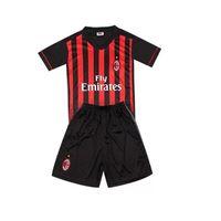 ac boy - Benwon AC Milan kid s home red black soccer uniforms thai quality football sets children s short sleeve sports jerseys football kits