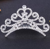 Wholesale Diamond Crown Hair Combs Crystal Heart Tiaras For Gilr s Hair Jewelry Hair Accessories Hair Bows Hot Selling