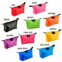 Wholesale Dumpling shape makeup bag Waterproof Nylon cosmetic bag foldable travel bag cosmetic organizer make up storage for women