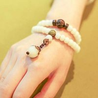 Wholesale Folk style tourism jewelry original hand on white Bodhi Bodhi root carved multi ring bracelet