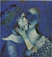 LOVERS IN BLUE, 1914 by MARC CHAGALL, Верхнее качество Подлинная ручная работа Всемирная картина маслом известного портрета на холсте с индивидуальными размерами
