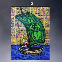 art sails - ALEC MONOPOLY RICHIE RICH SAILING High Quality genuine Hand Painted Wall Decor Alec monopoly Pop Art Oil Painting On Canvas