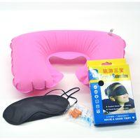 Wholesale Travel air travel Sambo Sambo flocking pillow pillow earplugs with gas mask box g