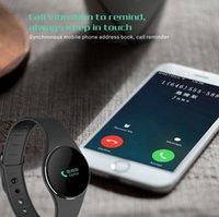 Ip67 bluetooth France-L16 intelligent Bracelet Bluetooth 4.0 Contrôle IP67 tactile Reminder Smartband Fitness Tracker sommeil Call Monitor pour Android iOS DHL Livraison gratuite