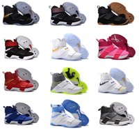 Wholesale 2016 Zoom Soldier Basketball Shoes Black Gold White Limited Edition Men Hot Sale Lebrons Sneakers Shoes Size